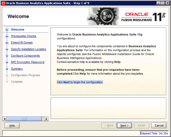 Oracle BI Apps Welcome Screen