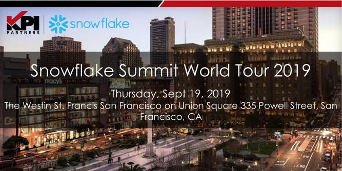 Snowflake Summit World Tour 2019