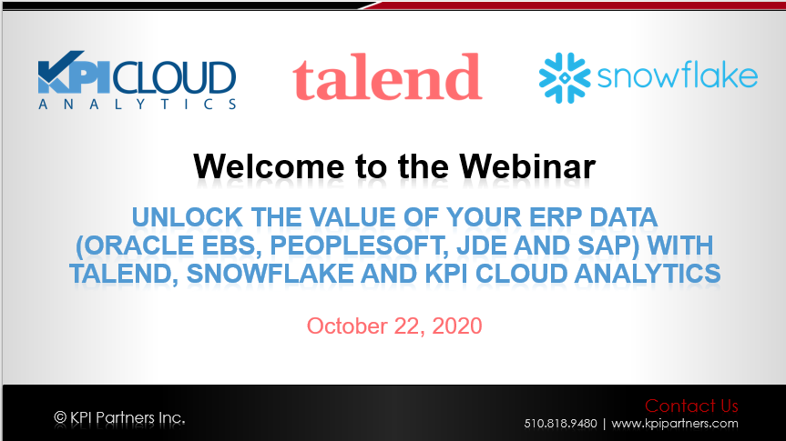 Unlock the Value of your ERP Data with Talend, Snowflake and KPI Cloud Analytics-1