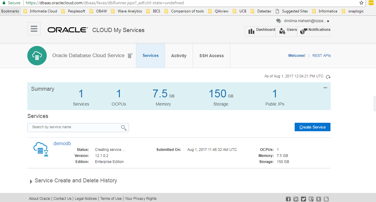 How to setup oracle analytics cloud service click create and you will get a creating service message while the service is getting created baditri Gallery