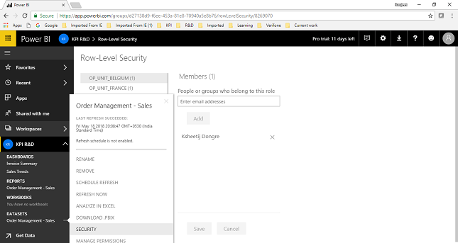 Security and Collaboration in Power BI